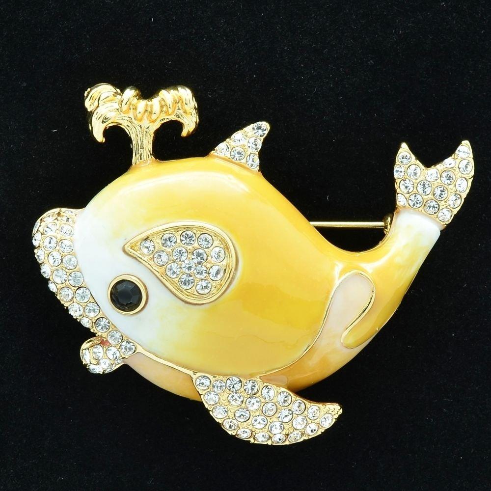 Fabulous Swarovski Crystals Yellow Whale Brooch Broach Pins Enamel SBA4523