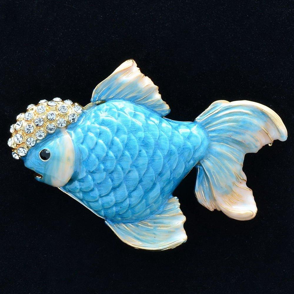 Dazzling  Blue Enamel Gold Fish Brooch Broach Pins Swarovski Crystals SBA4524