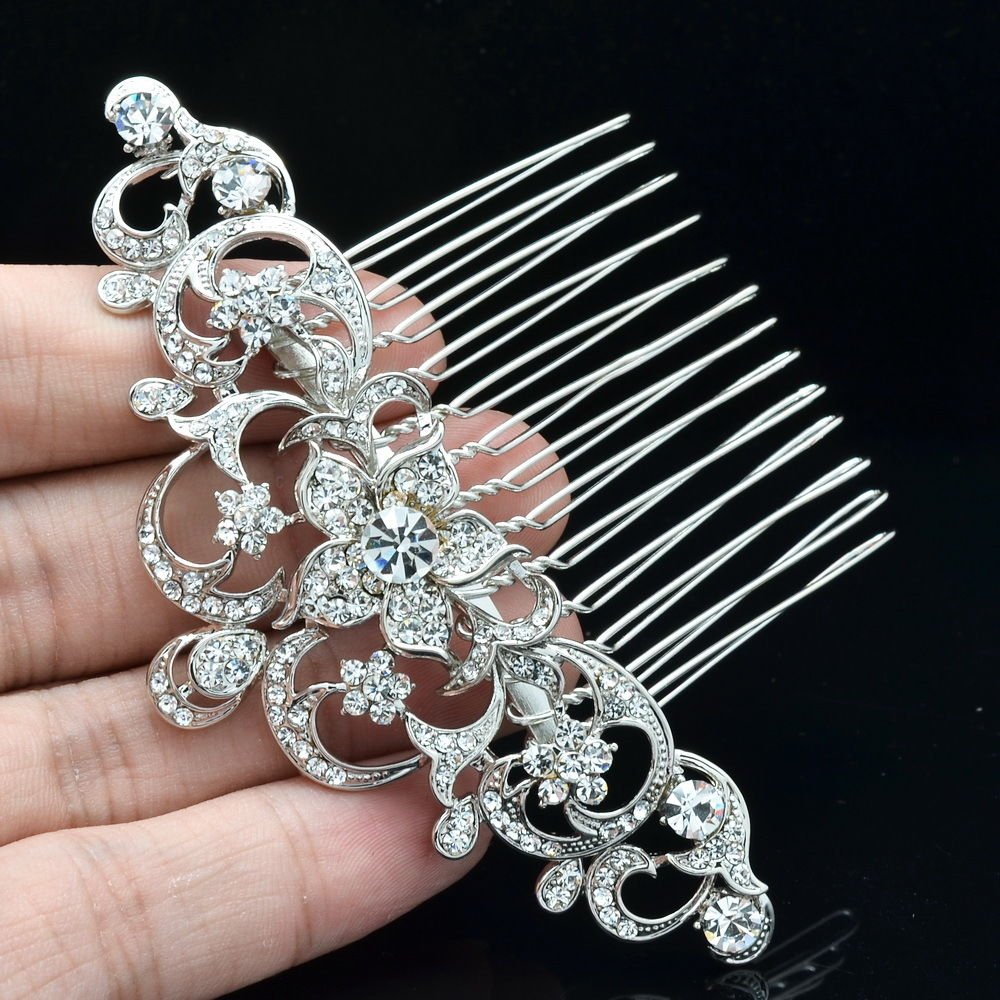 Wonderful Bridal Party Jewelry Clear Flower Hair Comb Rhinestone Crystals 202249