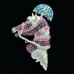 "High Quality Animal Purple Horse Brooch Broach Pin 2.6"" W/ Swarovski Crystals"