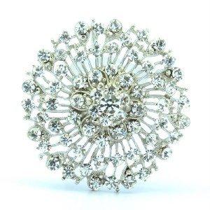 """Wedding Clear Roud Fower Brooch Pin 2.0"""" W/ Rhinestone Crystals"""