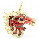 Dazzling Swarovski Crystals Red Horse Unicorn Brooch Broach Pins Jewelry 4514