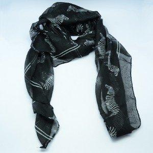 Women Fashion Zebra Print Black Long Scarf Pashmina Wrap Shawl Scarves
