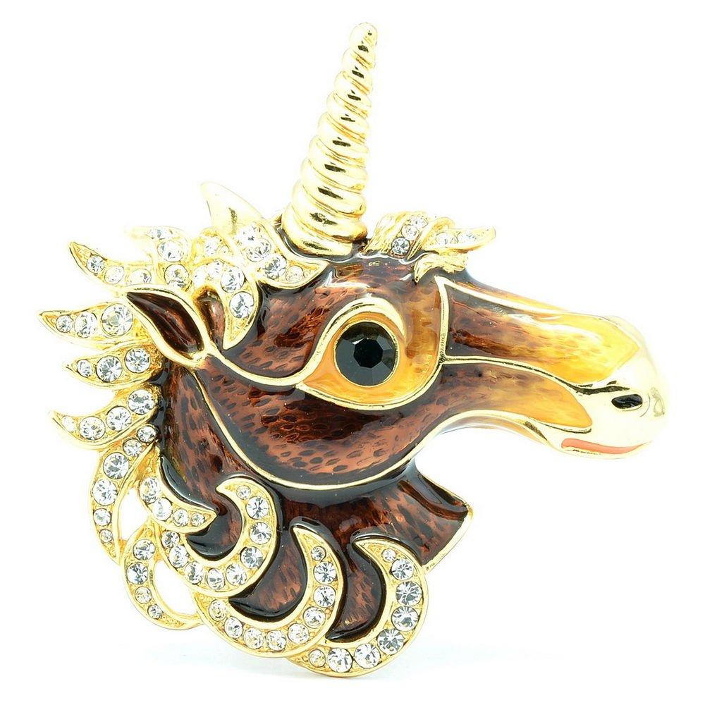 Dazzling Swarovski Crystals Brown Horse Unicorn Brooch Broach Pins Jewelry 4514