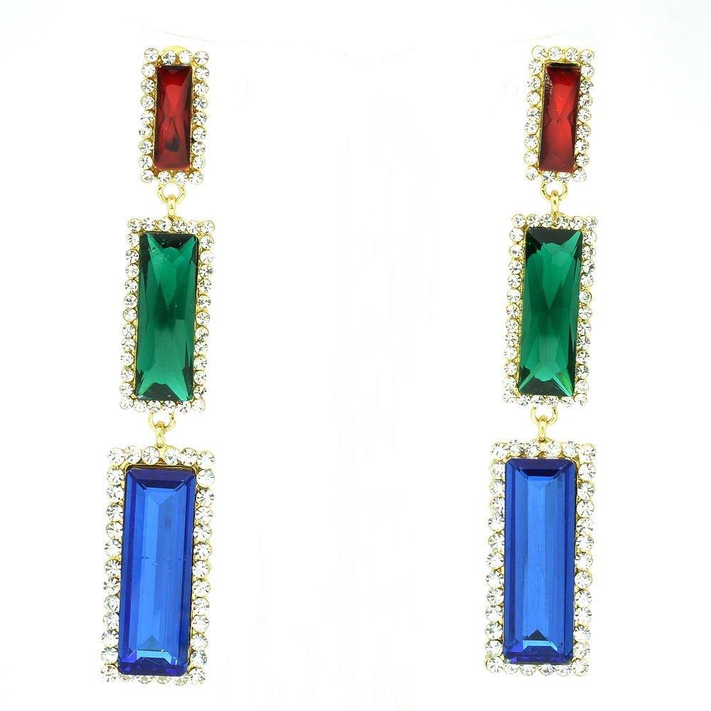 New Design Multicolor Oblong Dangle Earrings Rhinestone Crystals Art Deco 141232