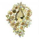 Vintage Style Flower Brooch Pin W/ Topaz Rhinestone Crystals 6039