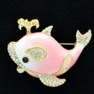 Fabulous Swarovski Crystals Pink Whale Brooch Broach Pins Enamel SBA4523