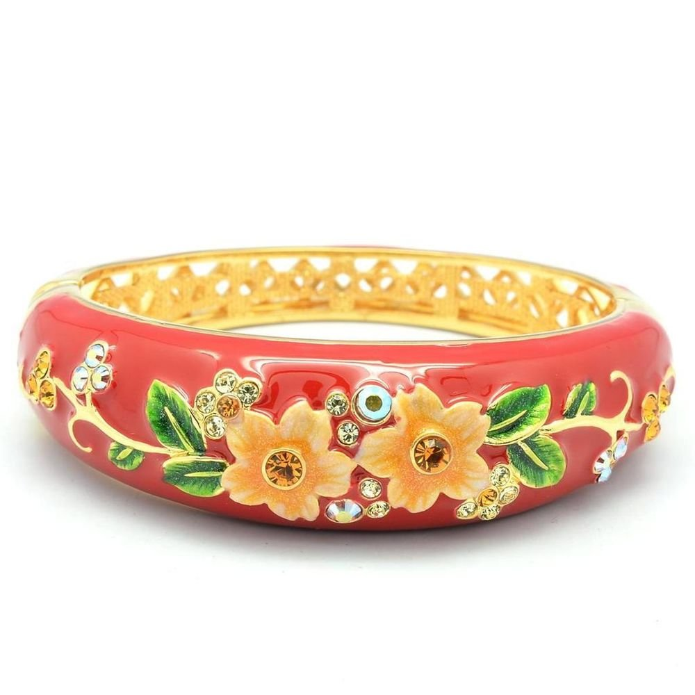 Beautiful Red Enamel Flower Bracelet Bangle W/ Brown Swarovski Crystals