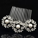 Pretty 3 Round Flowers Faux Pearls Hair Comb Rhinestone Crystals Wedding 41452R