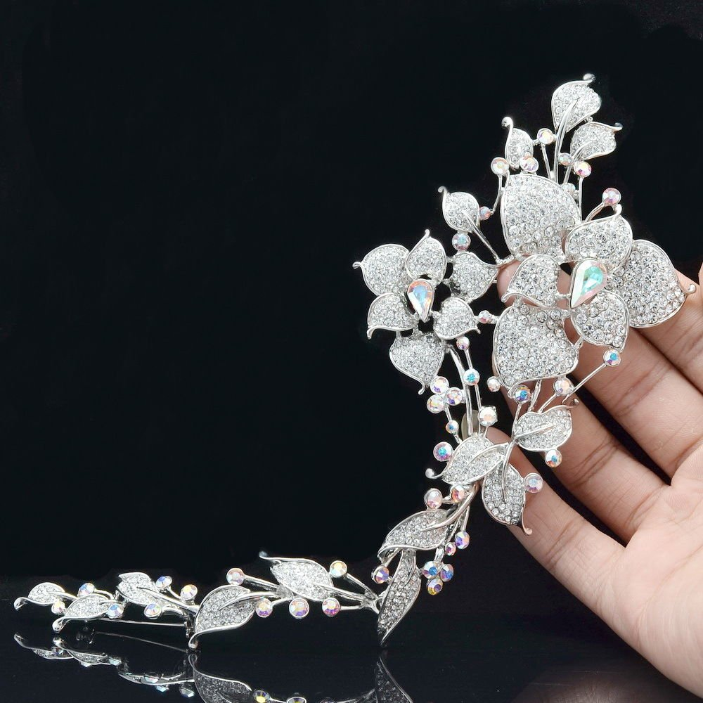 """Wedding Long Flower Brooch Broach Pins 9.3"""" Clear Swarovski Crystals JBA3462A-2"""