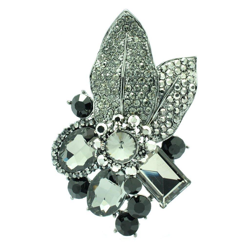 Gorgeous Leaf Floral Pendant Brooch Pin W/ Black Oval Rhinestone Crystals 6416