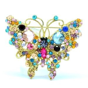 VTG Style Mix Rhinestone Crystals Pretty Scalewing Butterfly Brooch Pin 4895