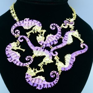 Rhinestone Crystals 8 Sea Horse Necklace Pendant w/ Purple Enamel