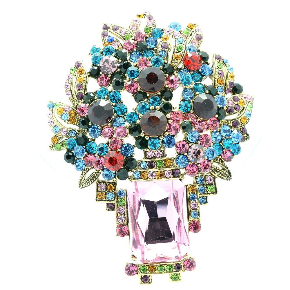 Attractive Leaf Flower Brooch Pin Pendant Mix Rhinestone Crystals Oblong 6411