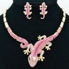 Elegant Pink Lizard Gecko  Necklace Earring Set Women Rhinestone Crystals FA3274