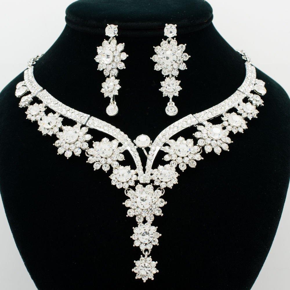 Chic Flower Bud Necklace Women Jewelry Set Rhinestone Crystal Accessories 00329