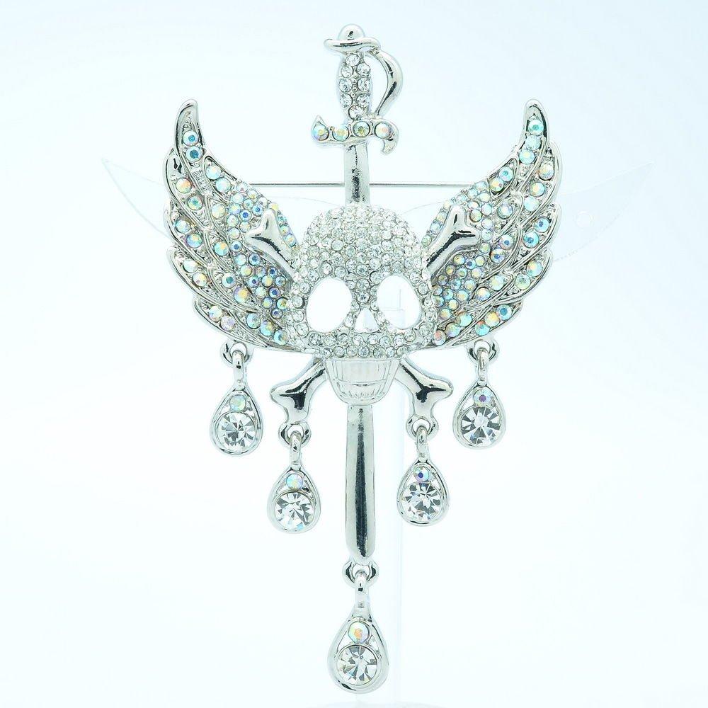 Halloween Silver Sword Wing Bone Skull Brooch Pin Rhinestone Crystals FA3178
