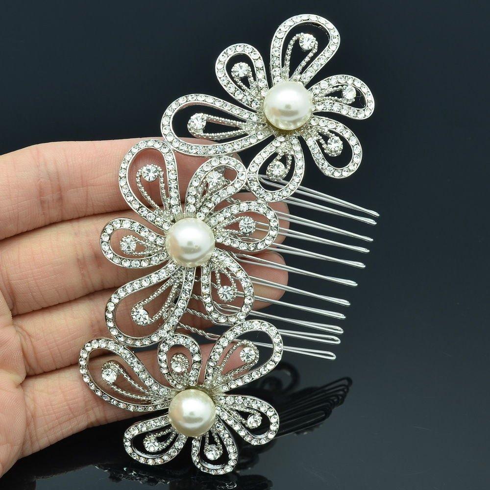 Rhinestone Crystals Bridal Clear Flower Hair Comb Headband Wedding Jewelry 3101