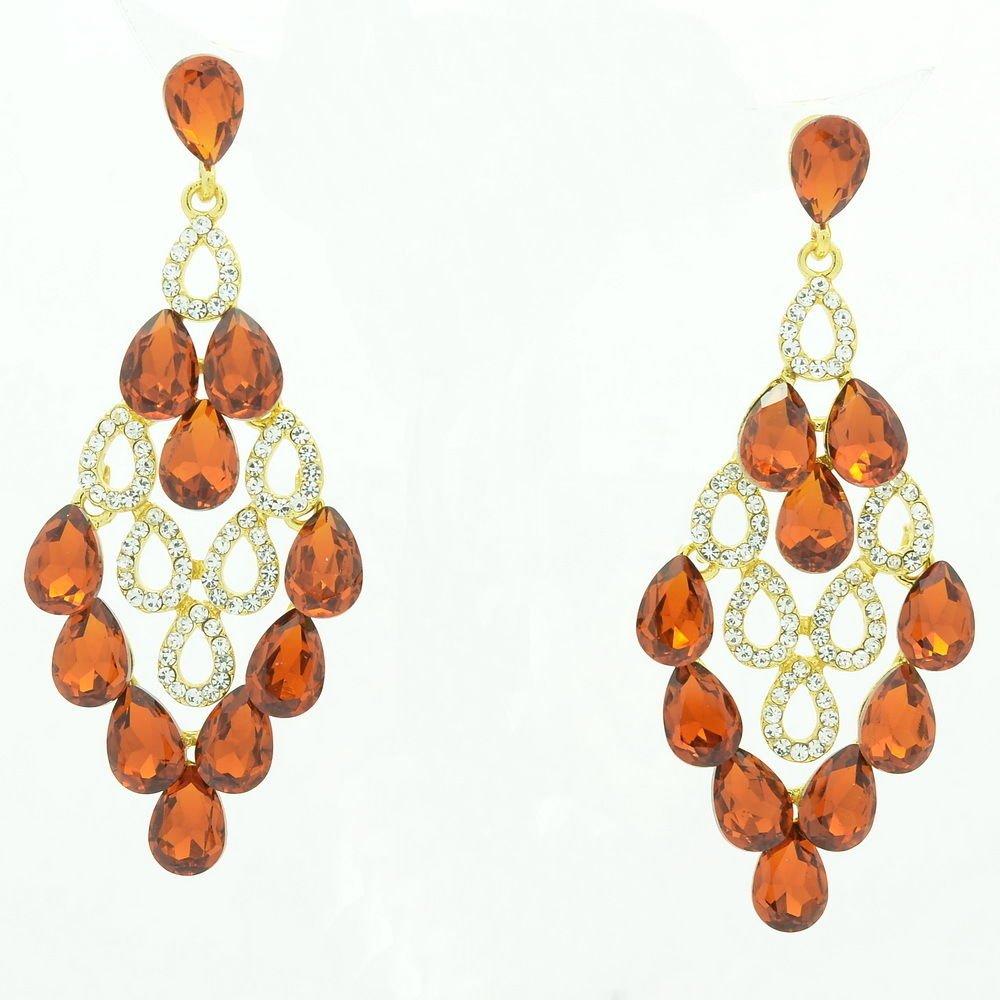Women Luxury Brown Water Drop Pierced Dangle Earring Rhinestone Crystal 123638