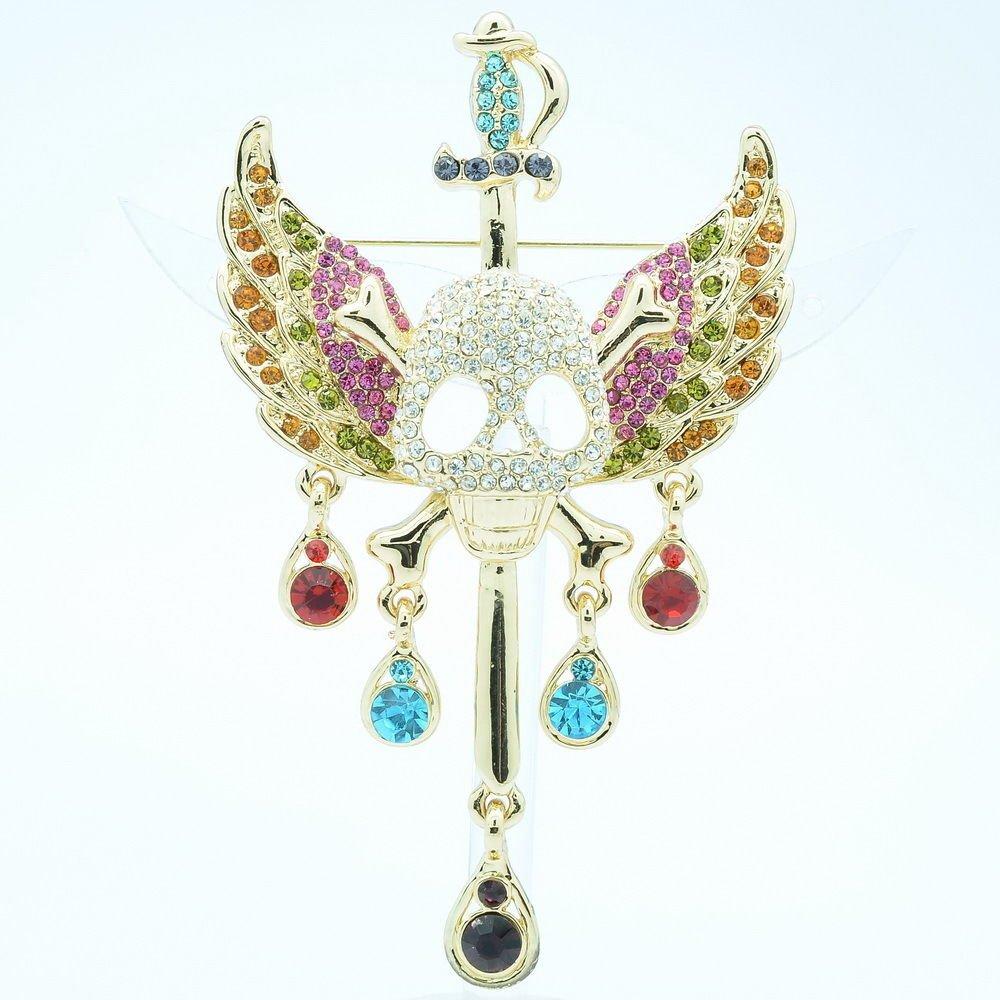 Halloween Sword Skull Wings Brooch Broach Pins Mix Rhinestone Crystals FA3178