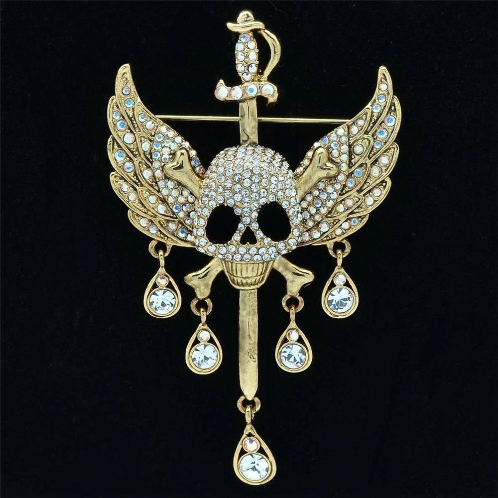 Cool Goth Style Sword Wing Skull Brooch Pin W Clear Swarovski Crystals 3.5""