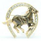 Excellent Swarovski Crystals Gray Enamel Horseshoe Horse Brooch Broach Pin