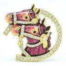High Quality Cute Enamel Red 2 Horse Brooch Broach Pin w/ Swarovski Crystals