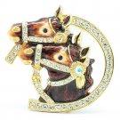 High Quality Cute Enamel Brown 2 Horse Brooch Broach Pin w/ Swarovski Crystals