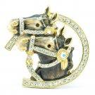 High Quality Cute Enamel Gray 2 Horse Brooch Broach Pin w/ Swarovski Crystals