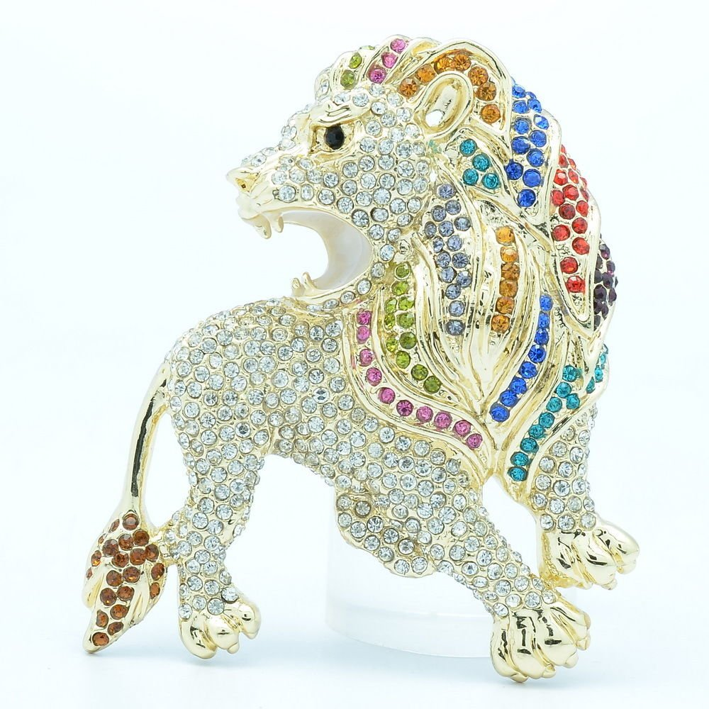 Roaring Animal Lion Brooch Broach Pins Jewelry Mix Rhinestone Crystal FA3177