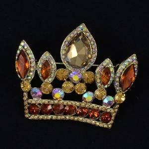 "Pendant Crown Brooch Broach Pin W/ Brown Rhinestone Crystals 2.3"" 5050"