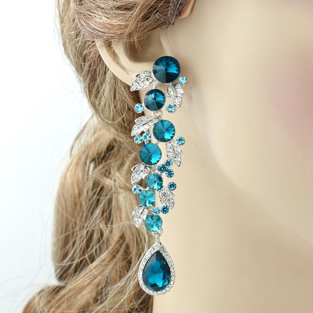 Blink Sea Blue Leaf Drop Pierced Earring Rhinestone Crystals Women Dangle 131831