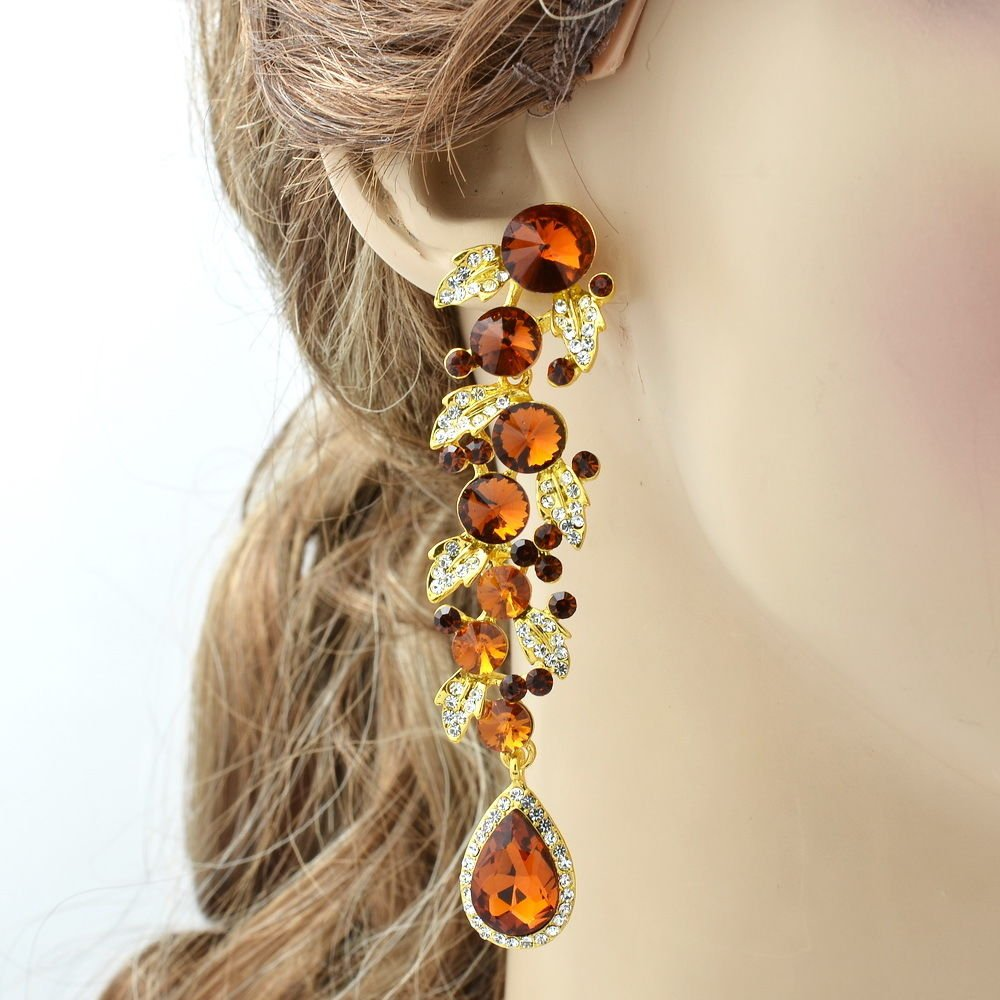 Pretty Brown Leaf Drop Pierced Earrings Women Dangle Rhinestone Crystals 131831