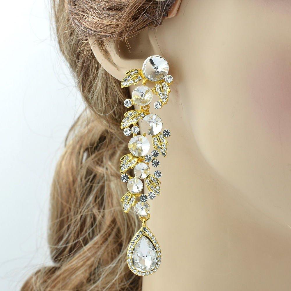 Bridal Dangle Fashion Leaf Drop Pierced Earring Clear Rhinestone Crystals 131831