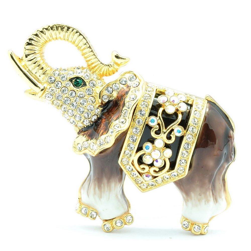 Animal Enamel Brown Elephant Brooch Broach Pin W/ Swarovski Crystals SBA4509