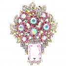 Attractive Leaf Flower Brooch Pin Pendant Pink Rhinestone Crystals Oblong 6411