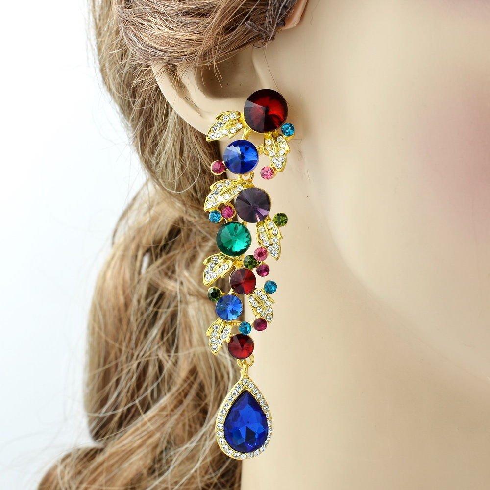 Gorgeous Multicolor Leaf Drop Pierced Earrings Dangle Rhinestone Crystals 131831