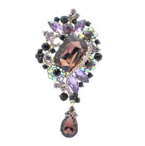 "Chic Purple  Rhinestone Crystals Drop Flower Brooch Pin 3.7"" 4823"