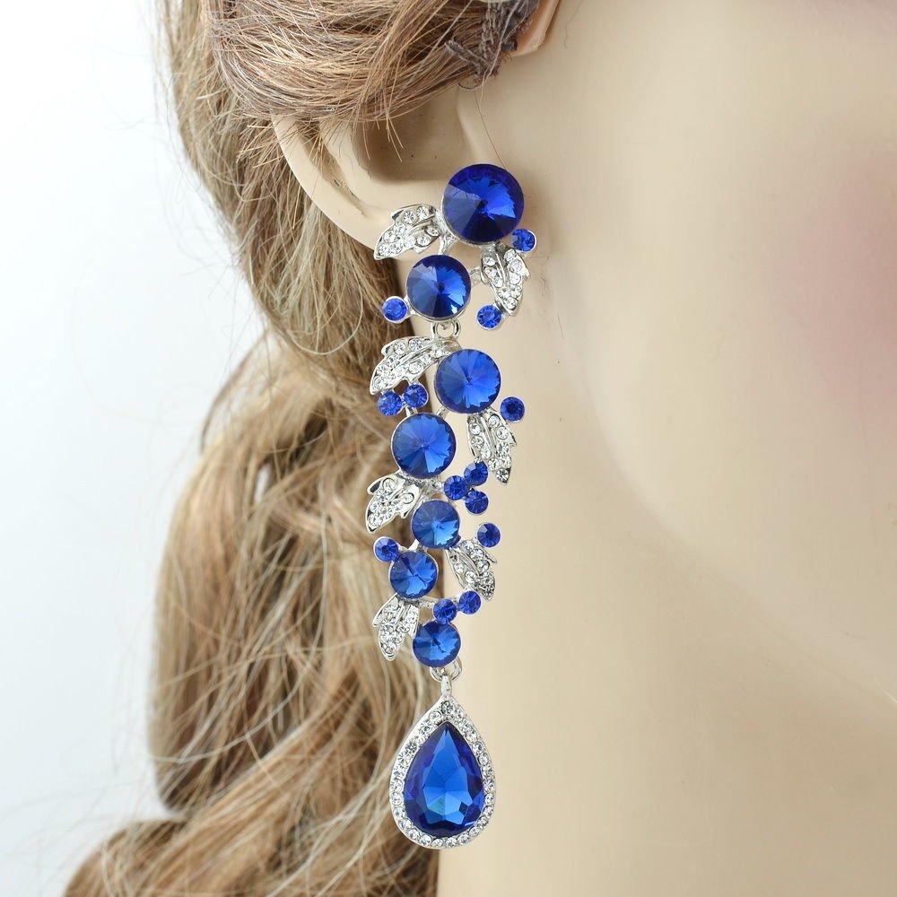 Chic Dangle Royal Leaf Drop Pierced Earring Women Prom Rhinestone Crystal 131831