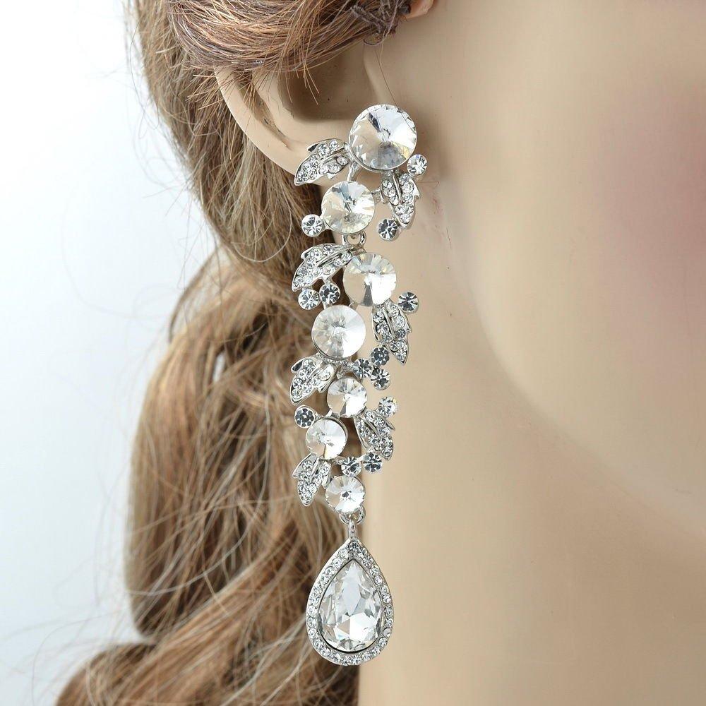 Trendy Clear Leaf Drop Pierced Earring Bridal Wedding Rhinestone Crystals 131831