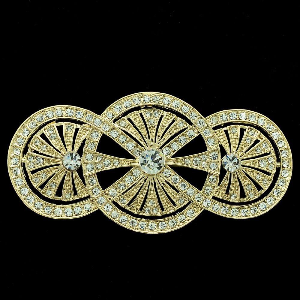 Clear Rhinestone Crystals Triple Round Flower Brooch Broach Pins Jewelry XBY067