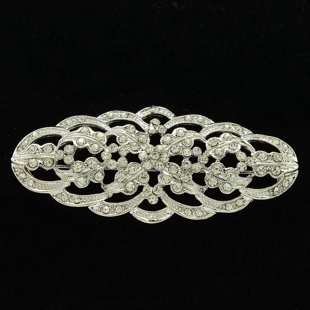 Europe Imperial Style Wedding Clear Flower Brooch Pins Rhinestone Crystal XBY105