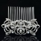 Beautiful Flower Hair Comb Clear Rhinestone Crystals For Wedding Bridal 14011R
