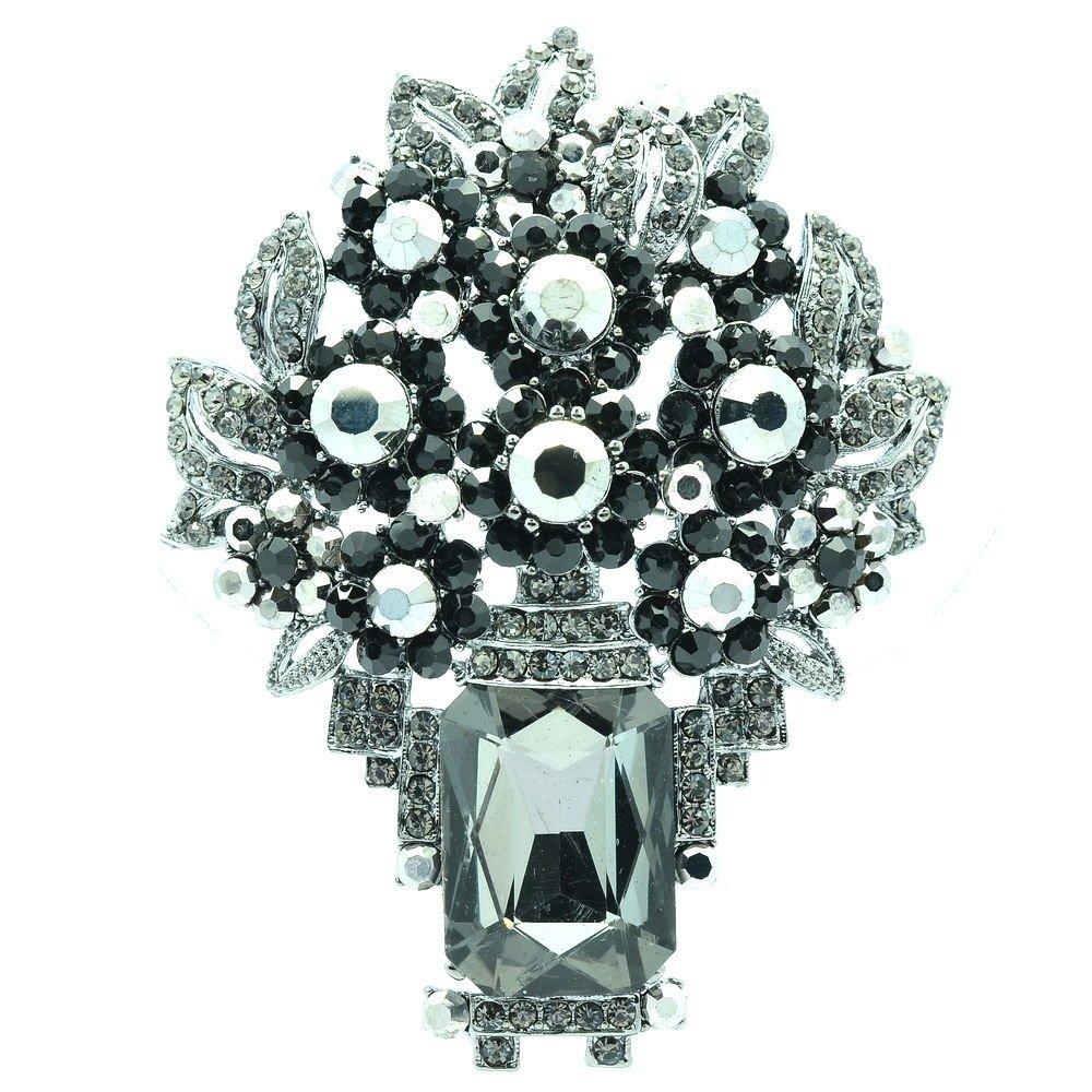 Retro Attractive Black Leaf Flower Brooch Pin Pendant Rhinestone Crystal 6411