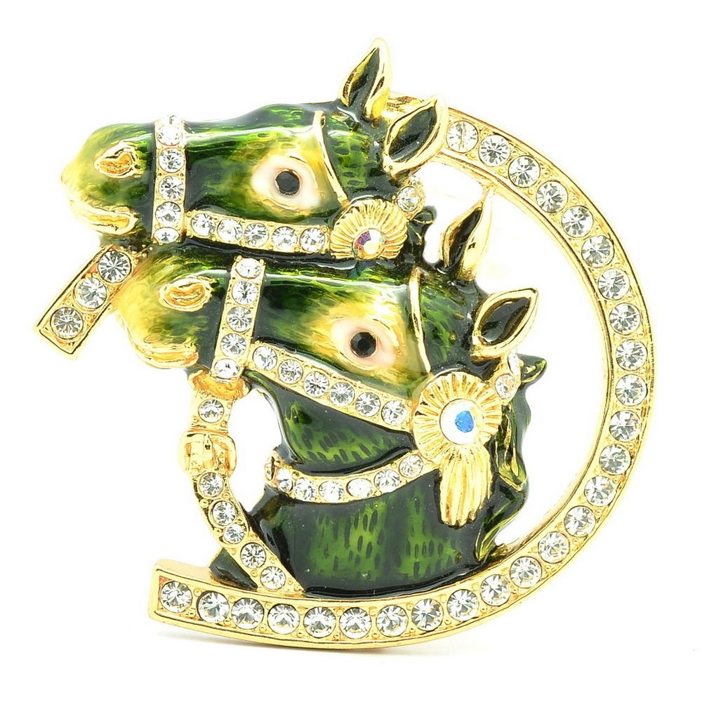 High Quality Cute Enamel Green 2 Horse Brooch Broach Pin w/ Swarovski Crystals