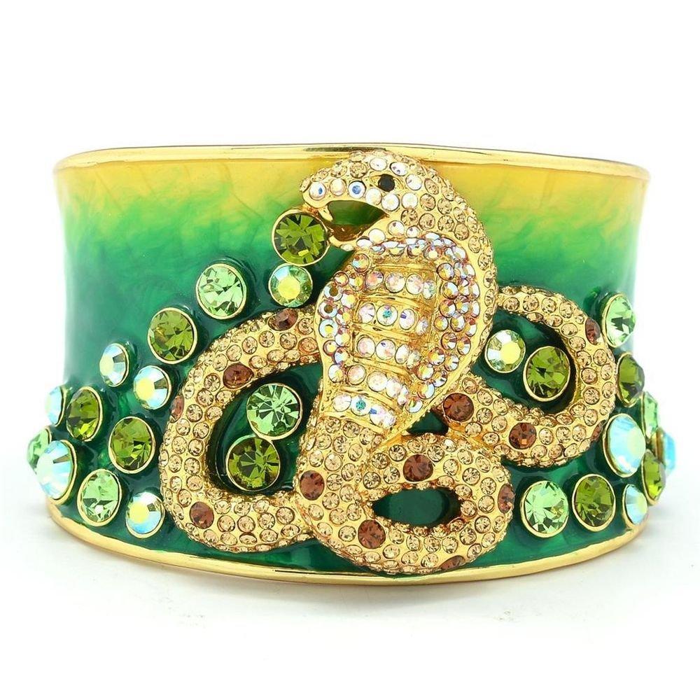 High Quality Topaz Swarovski Crystals Enamel Snake Cuff Bracelet Bangle