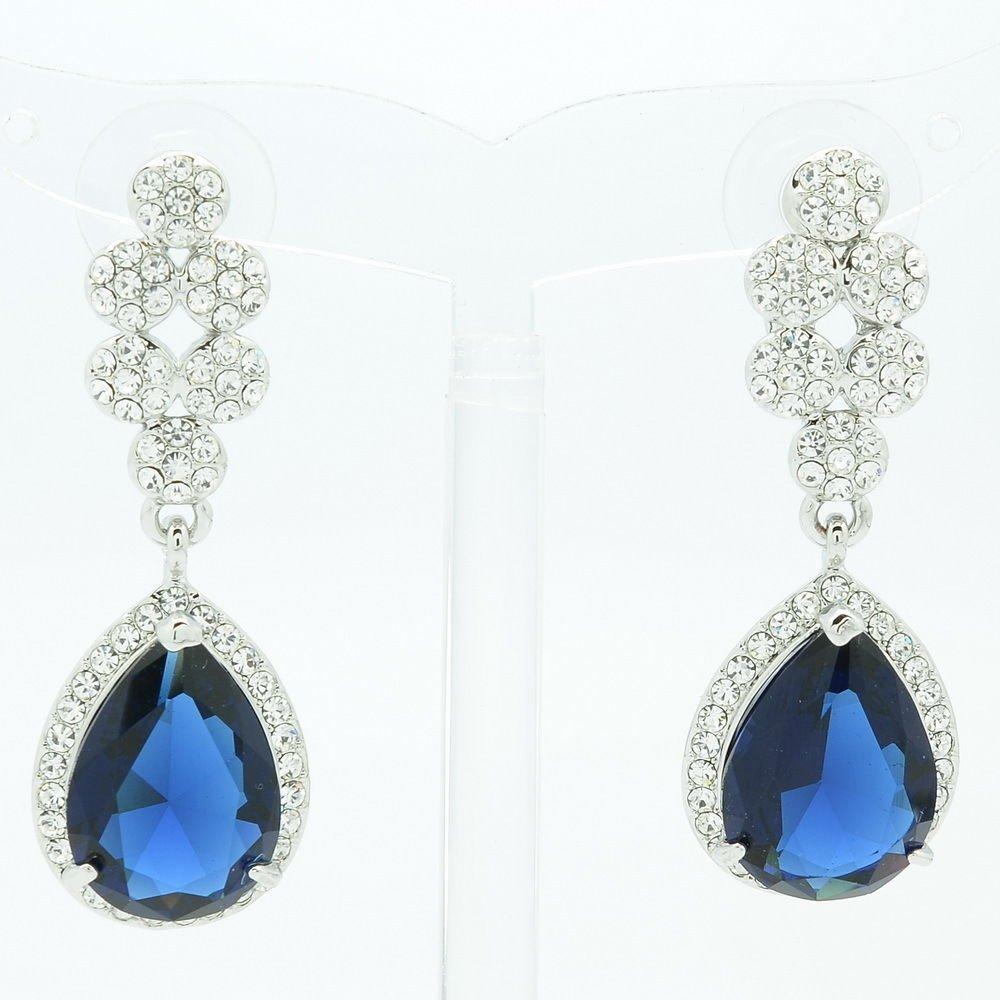 Women Dangle Tear Drop Earring W/ Dark Blue CZ Zircon Rhinestone Crystals 20662