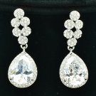 Luxury Bridal Wedding Tear Drop Earring W/ CZ Zircon Rhinestone Crystals 20662