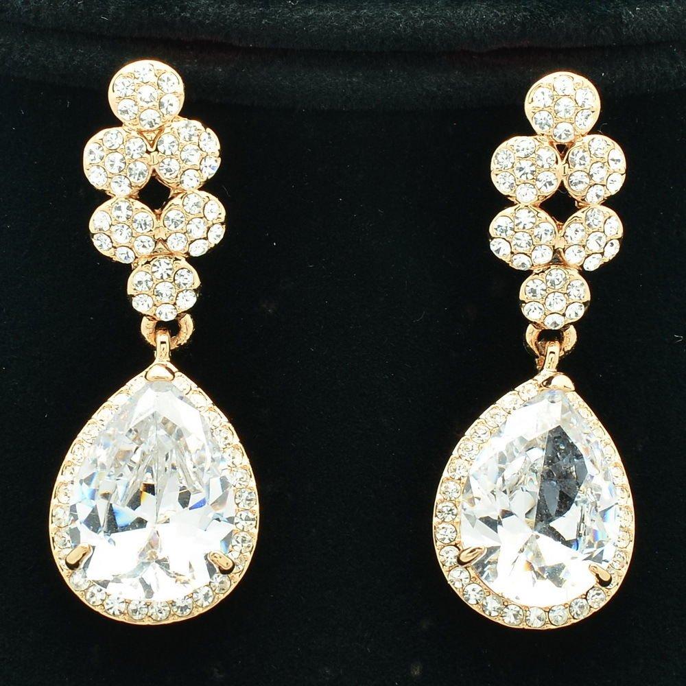 Luxury Bridal Bridesmaid Tear Drop Earring W/ CZ Zircon Rhinestone Crystal 20662