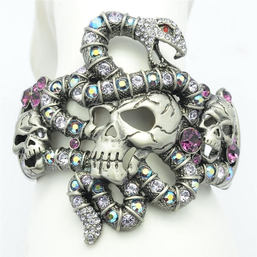 High Quality Purple Swarovski Crystals Vintage Snake Skull Bracelet Bangle Cuff